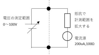 電流計を200uAと内部抵抗100Ωの電流源として考えたとき倍率器として抵抗を追加すると電圧計になります。