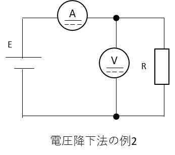 電圧降下法の2の場合は電圧計の内部抵抗をRvとした場合に電圧計に流れる電流分を差し引いて補正します。 R=E/(I-E/R)[Ω]として補正します。