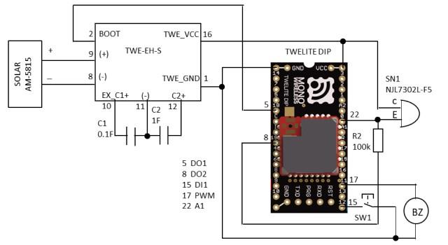 照度センサとブザーの動作確認の回路図
