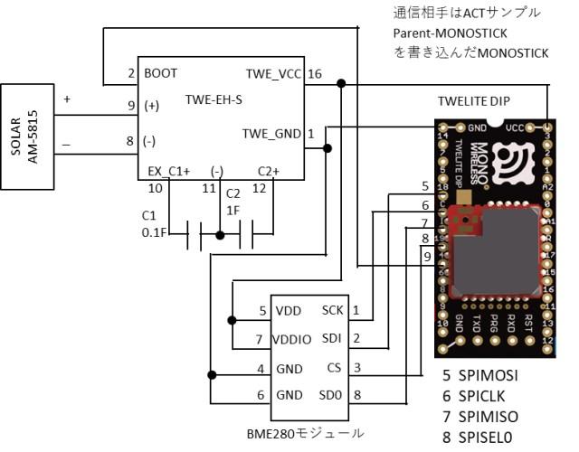 SPI通信と無線通信確認の回路図
