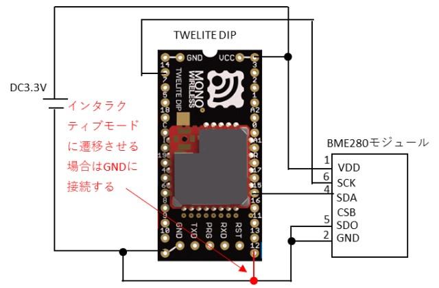 インタラクティブモードの動作確認用の回路図
