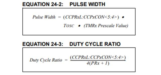 引用:PIC16F1827のデータシート(PWMのデューティーの計算)