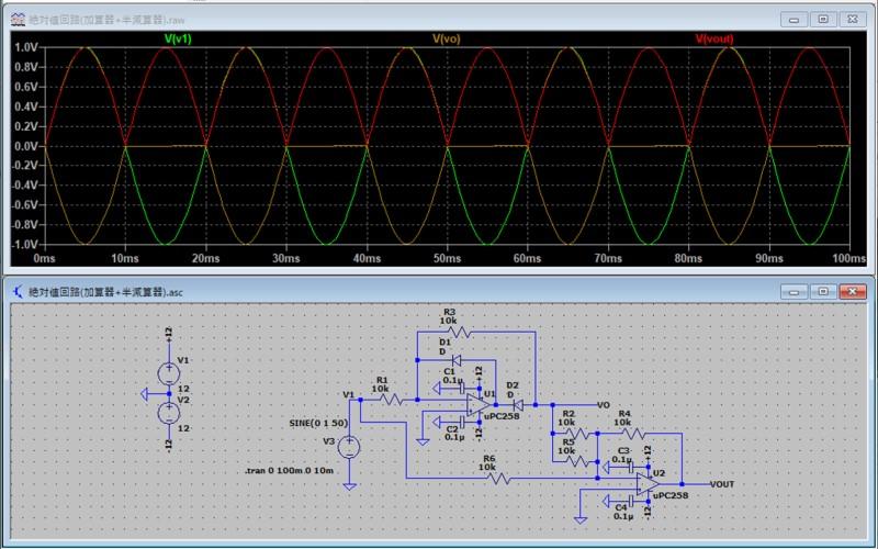 絶対値回路のシミュレーション1