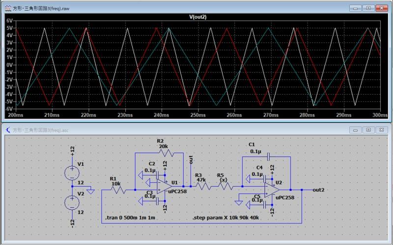 方形波/三角波発振回路のシミュレーション3(三角波)