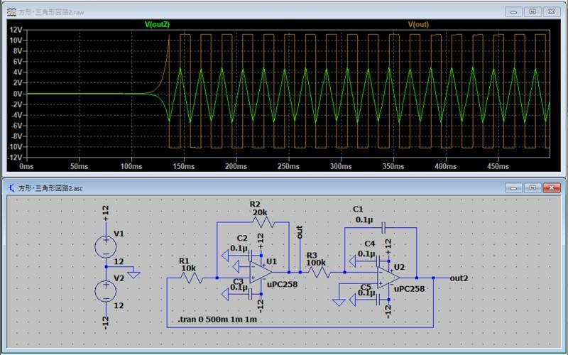 方形波/三角波発振回路のシミュレーション