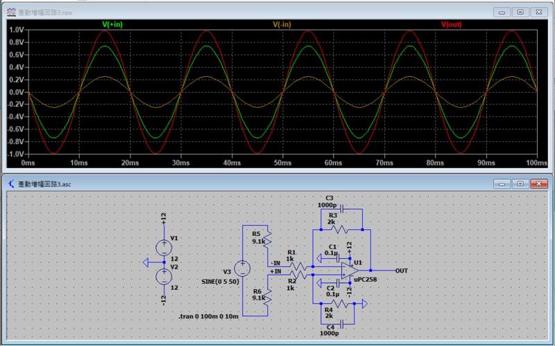 差動増幅回路のシミュレーション2