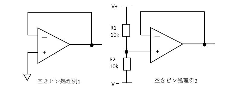 オペアンプの空きピン処理の説明図