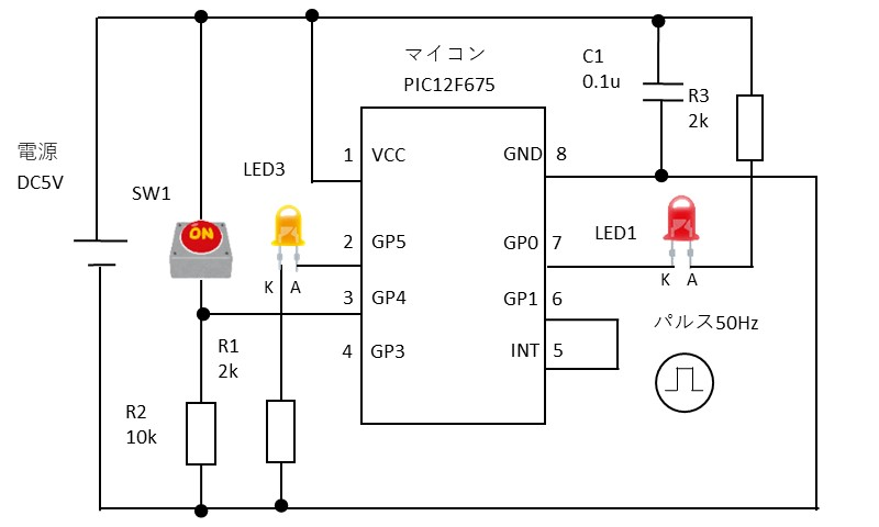 INT機能の動作確認の回路図