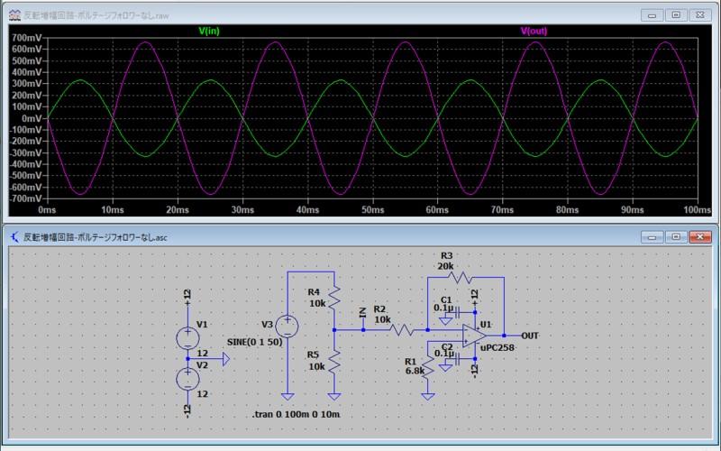 ボルテージフォロワーがない場合の電圧低下の例