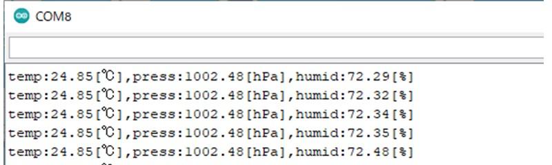 BME280のデータをSPIで取得した場合の結果