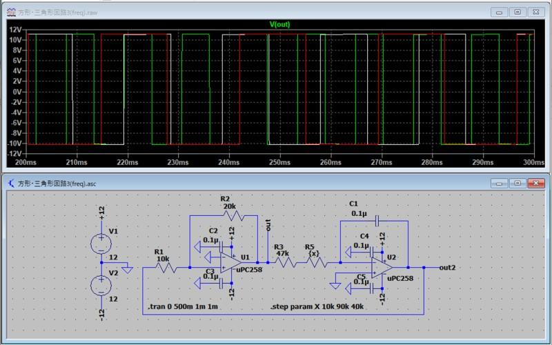 方形波/三角波発振回路のシミュレーション3(方形波)