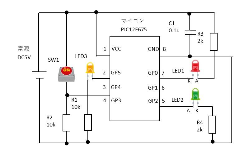I/Oポートの操作確認の回路図