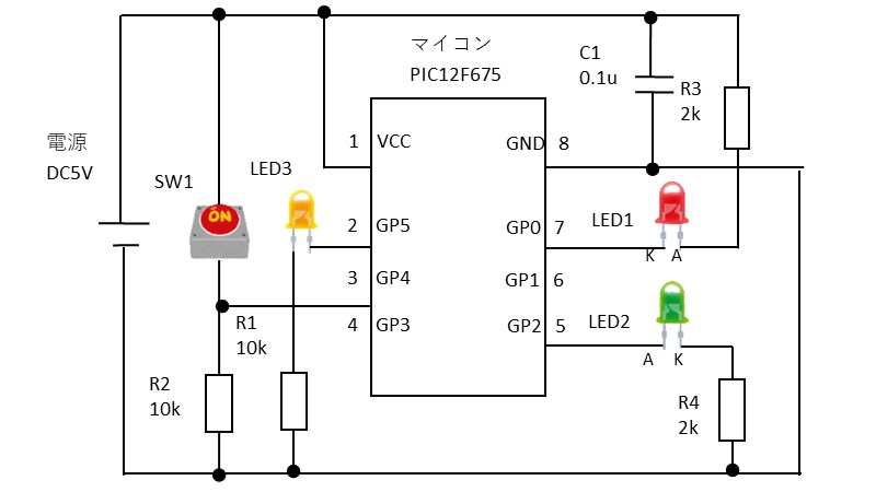 タイマ管理の動作確認の回路図