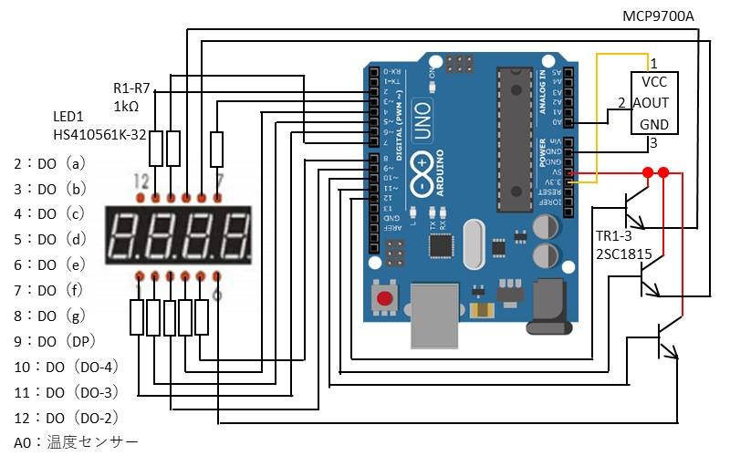 7セグメントLEDに温度情報を表示する回路図