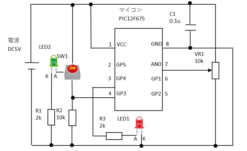 回路図(PWMでLED1を点灯)