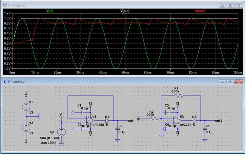 ピーク検出回路のシミュレーション