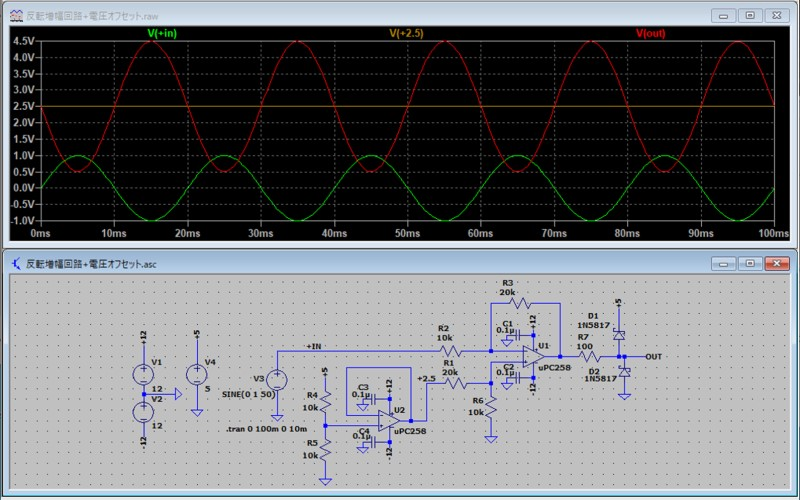 反転増幅回路の基準電圧をオフセットした例