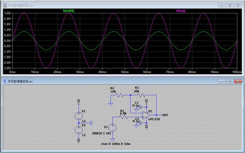 非反転増幅回路のシミュレーション