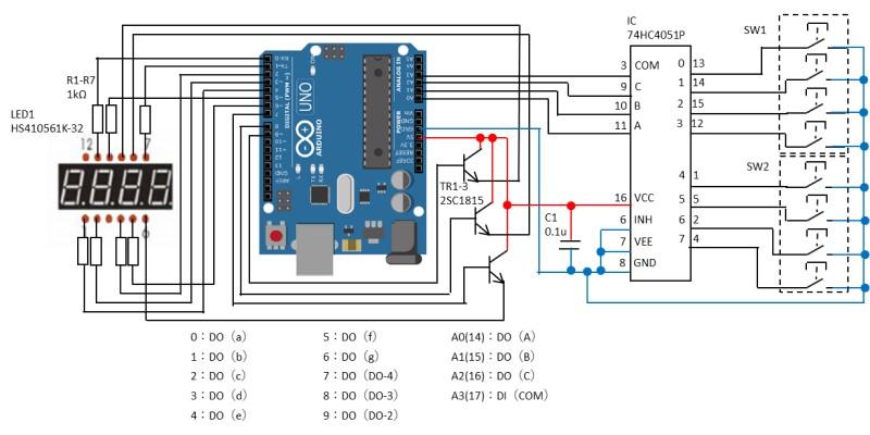 Arduinoにマルチプレクサを接続して動作確認した回路図